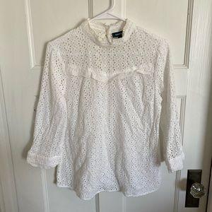 ModCloth white eyelit lace blouse size L